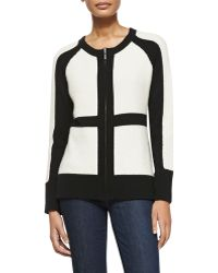 Sofia Cashmere Color Patch Zip-front Cashmere Cardigan - Lyst