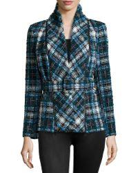 Oscar de la Renta Plaid Shawl-Collar Belted Jacket - Lyst
