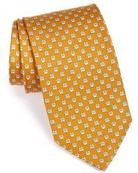Ferragamo Owl Print Silk Tie - Lyst