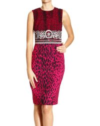 Versace Sheat Dress Short Sleeves with Barocco and Spotted Print - Lyst