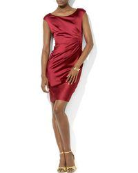 Ralph Lauren Lauren Dress  Cap Sleeve Satin Sheath - Lyst