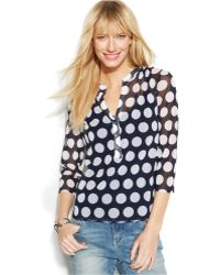 Inc International Concepts Rhinestone-Button Dot-Print Blouse - Lyst