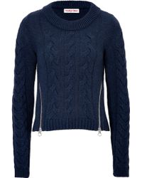 Chloé Wool Cable Knit Sweater with Zippers - Lyst