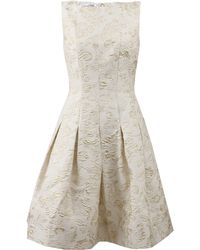 Oscar de la Renta Bateau Neck Dress with Full Skirt - Lyst