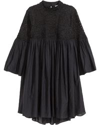 H&M Embroidered Dress black - Lyst