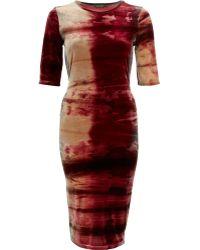 River Island Red Tie Dye Velvet Half Sleeve Column Dress - Lyst