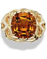 David Yurman Venetian Quatrefoil Ring with Madeira Citrine and Diamonds in Gold - Lyst