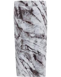Helmut Lang Ivory Layered Print Jersey Skirt - Lyst