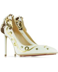 Charlotte Olympia Giddy Up! Bone White Court Pump - Lyst