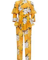 Tata Naka - Orange Wallpaper Ruffle Jumpsuit - Lyst