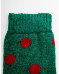 Cath Kidston Button Spot Gumboot Socks - Green