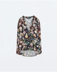 Zara Zipped Print Top - Lyst