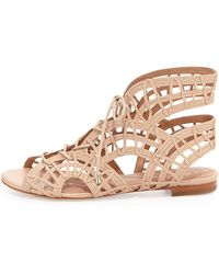 Schutz Lina Lace Up Sandals In Beige Down Lyst