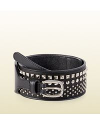 Gucci Studded Leather Waist Belt black - Lyst