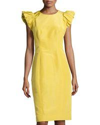 Carolina Herrera Faille Ruffle-sleeve Sheath Dress - Lyst