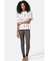 Topshop Cat Print Pajama Set - Lyst
