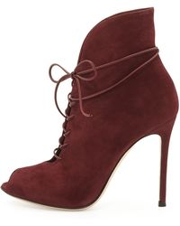 Gianvito Rossi Suede Peeptoe Laceup Bootie - Lyst