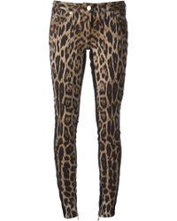 Roberto Cavalli Leopard Print Skinny Jeans - Lyst