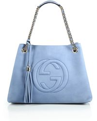 Gucci Soho Suede Shoulder Bag blue - Lyst