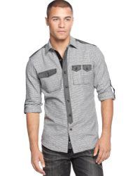 Sean John Houndstooth Chambray-trim Shirt - Lyst