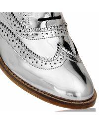 Luke Grant-muller Men'S Chrome Silver Metallic Brogue Shoes gray - Lyst