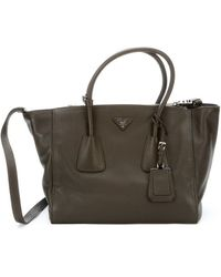 Prada Military Leather Convertible Tote - Lyst