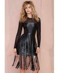Nasty Gal Aston Fringe Vegan Leather Dress - Lyst