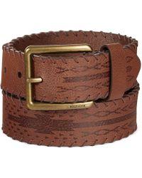 Tommy Hilfiger Laced-Edge Brown Cowboy Belt - Lyst
