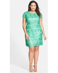 Eliza J Cap Sleeve Lace Sheath Dress - Lyst