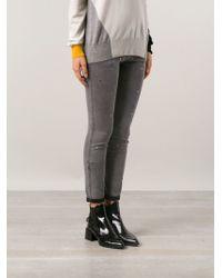 Stella McCartney Gray Studded Jeans - Lyst