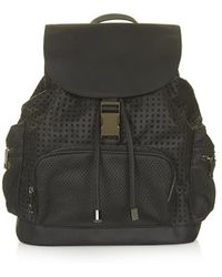 Topshop Black Perforated Backpack - Lyst