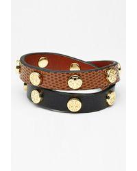 Tory Burch Logo Stud Double Wrap Bracelet - Cocoa Brown/ Black - Lyst