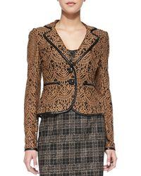 Nanette Lepore I Spy Leathertrim Lace Jacket Camel 0 - Lyst