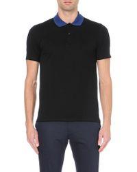 Lanvin Contrast Collar Cotton-piqué Polo Shirt - Lyst