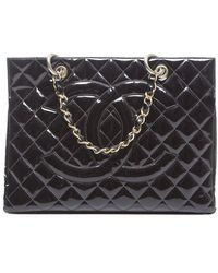 Chanel Preowned Patent Timeless Gst Shopping Tote - Lyst