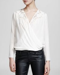 The Kooples Top - Broderie Anglaise Silk Crepe De Chine - Lyst