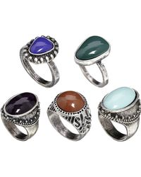 Asos Mixed Stones Ring Pack - Lyst