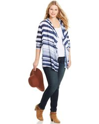 Jessica Simpson Plus Size Skylar Striped Cardigan - Lyst