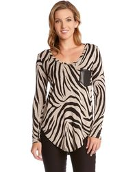 Karen Kane Zebra Printed Top - Lyst