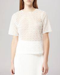 Reiss Top - Cubist Sheer Embroidered - Lyst
