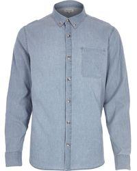 River Island Blue Bleach Printed Denim Long Sleeve Shirt - Lyst