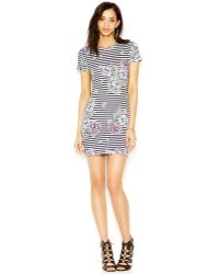 French Connection Striped Floral-Print Tee Dress - Lyst