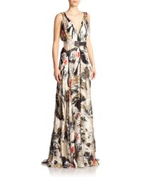 Donna Karan New York Belted Silk Gown multicolor - Lyst