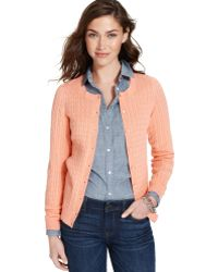 Tommy Hilfiger Long-Sleeve Cable-Knit Cardigan - Lyst