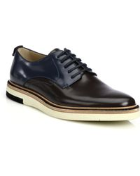 Fendi Colorblocked Leather Lace-Up Hunting Shoes - Lyst