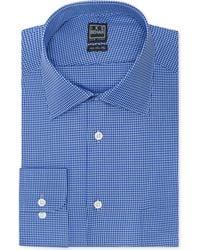 Ike Behar Bright Blue Textured Solid Dress Shirt - Lyst