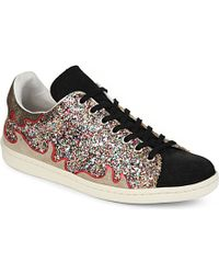 Isabel Marant Gilly Glitter Leather Trainers - Lyst