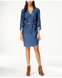 Eci - Belted Denim Shirt Dress - Lyst