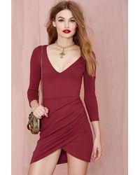 Nasty Gal Deep Down Dress - Burgundy - Lyst