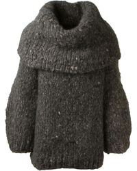 The Row Grey Chunky Knit Cashmere Pullover - Lyst